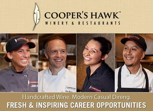 cooper's hawk winery and restaurants jobs