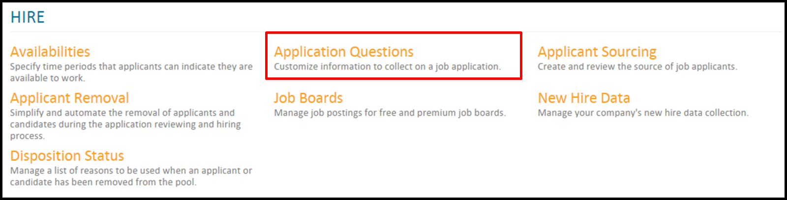 administrators application questions how do i configure my job application default sections video